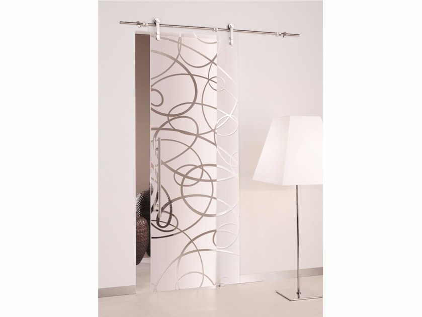 Sandblasted glass sliding door AURA | Sliding door - Casali