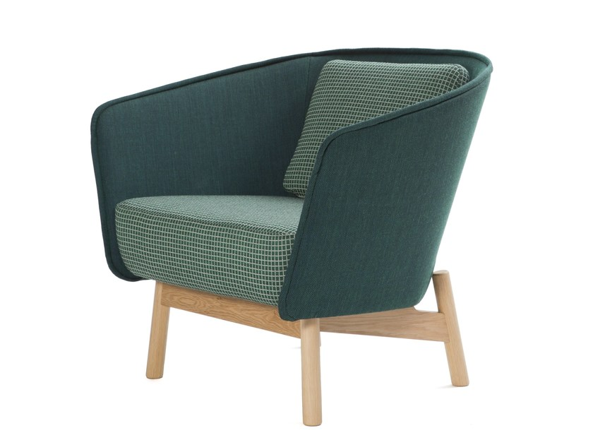 Upholstered fabric easy chair with armrests AURA WOOD | Easy chair by Inno Interior Oy
