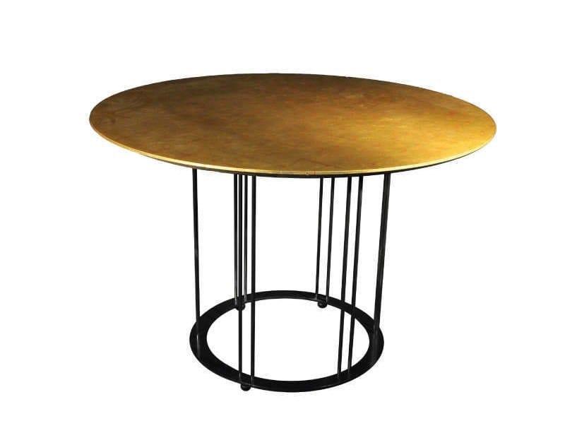 Tavolo da pranzo rotondo foglia oro AUREOLA | Tavolo foglia oro ...
