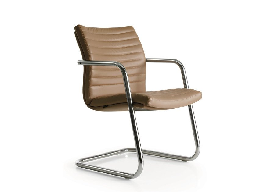 Cantilever leather chair with armrests AURORA 2.0 | Cantilever chair - Quinti Sedute