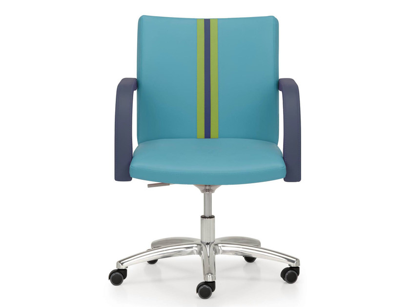 Height-adjustable leather task chair with 5-Spoke base with armrests AURORA FULL - Quinti Sedute