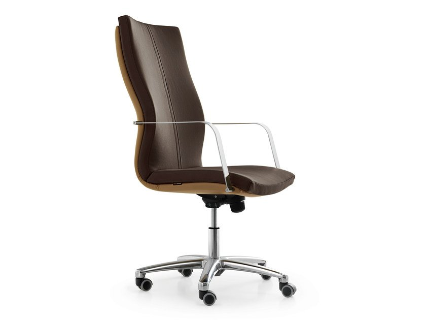 Height-adjustable executive chair with 5-spoke base with casters AURORA | Executive chair - Quinti Sedute