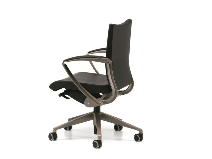 Leather task chair with 5-Spoke base with armrests with casters AVIA 4004 - TALIN