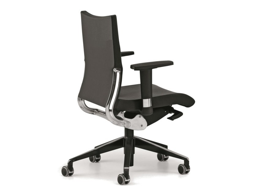 Leather task chair with 5-Spoke base with armrests with casters AVIA 4006 - TALIN