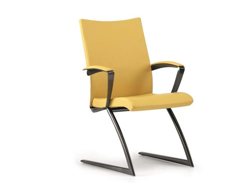 Sedia a sbalzo imbottita in pelle con braccioli AVIA 4055 - TALIN
