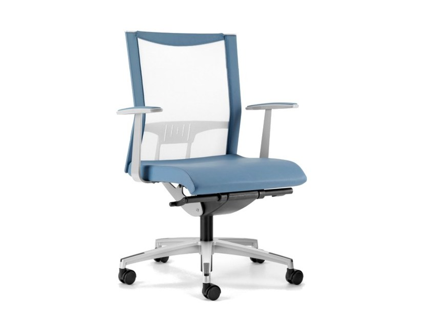 Mesh task chair with 5-Spoke base with armrests with casters AVIANET 3602 - TALIN