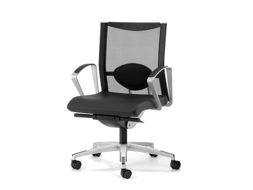 Mesh task chair with 5-Spoke base with armrests with casters AVIANET 3604 by TALIN
