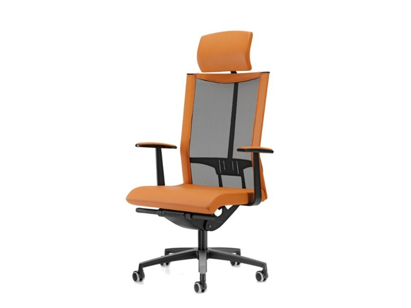 Mesh task chair with 5-Spoke base with armrests with casters AVIANET 3622 - TALIN