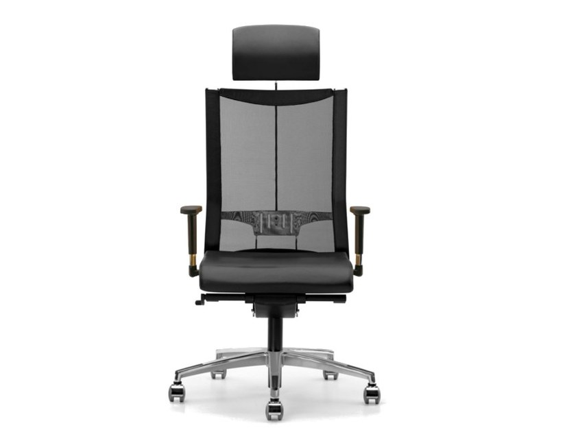 Mesh task chair with 5-Spoke base with armrests with casters AVIANET 3626 - TALIN
