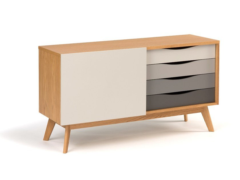 Lacquered wooden sideboard with drawers AVON | Sideboard - Woodman