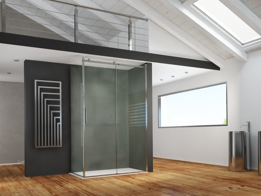 Contemporary style corner rectangular stainless steel shower cabin with sliding door AXER | Shower cabin with sliding door - MEGIUS