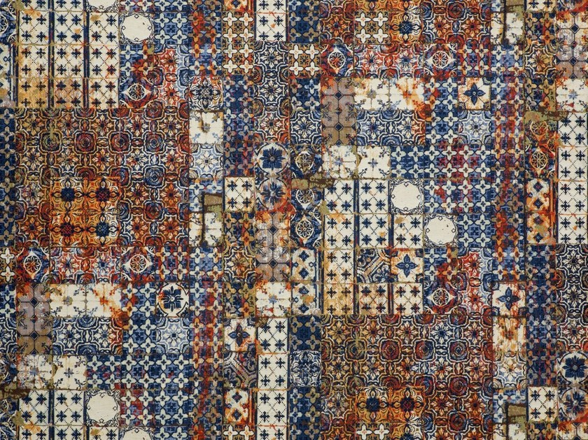 Contemporary style cotton wall fabric with graphic pattern AZULEJOS - LELIEVRE