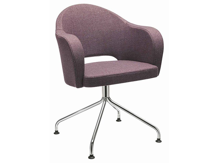 Upholstered easy chair with 4-spoke base with armrests Agatha 048 - Metalmobil