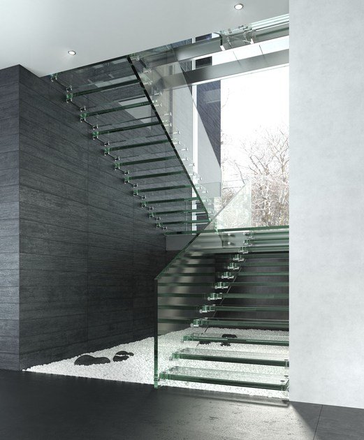 Self supporting glass Open staircase MONTANA by Siller Treppen