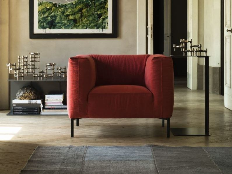 Fabric armchair with removable cover with armrests FOLD   Armchair by Verzelloni