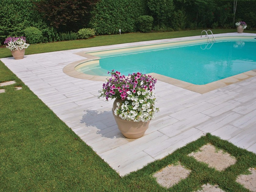 Reconstructed stone Pool edging Autentika® - Wooden slab - MICHELETTO PAVIMENTAZIONI