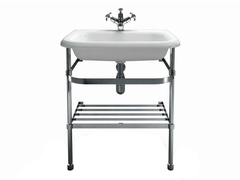 Console washbasin with towel rail B8ES | Washbasin with overflow - Polo