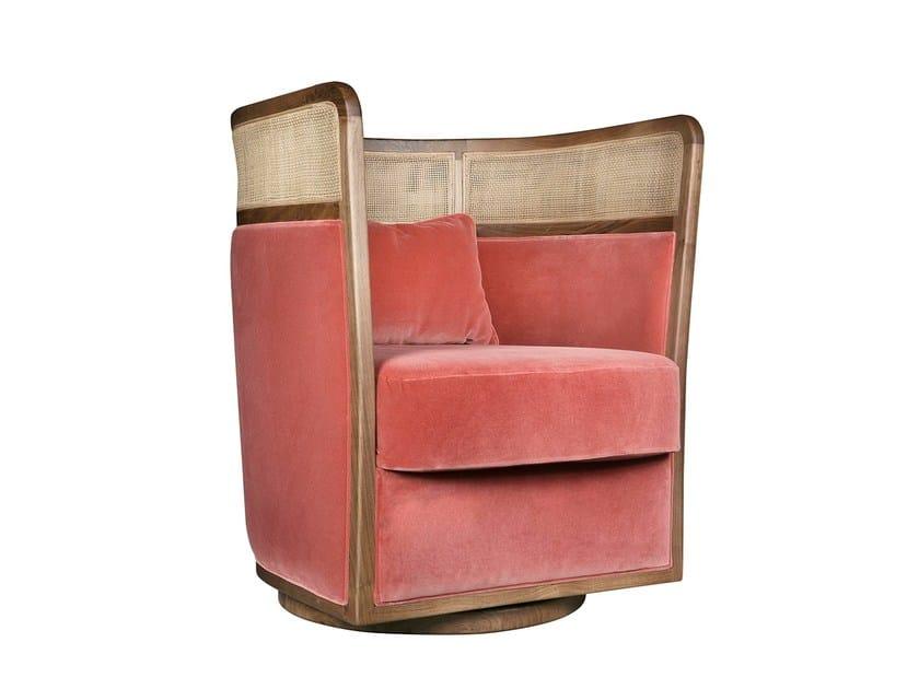 Swivel high-back fabric armchair with armrests BAÍA - Branco sobre Branco