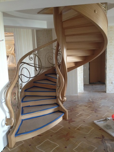 Helical solid wood Spiral staircase BAKU | Wooden Spiral staircase - Siller Treppen