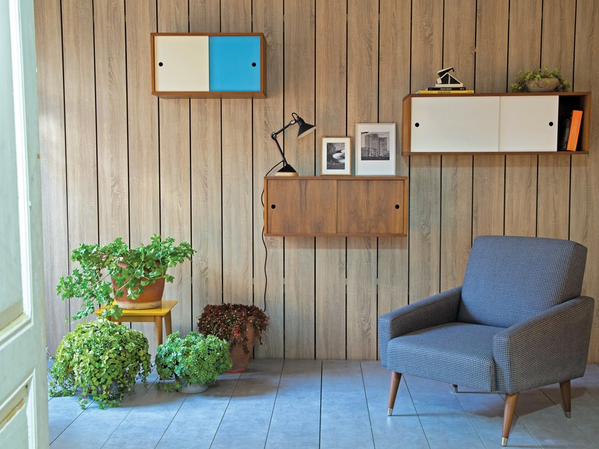 Lacquered wall cabinet with sliding doors BALA Storage by Kann Design
