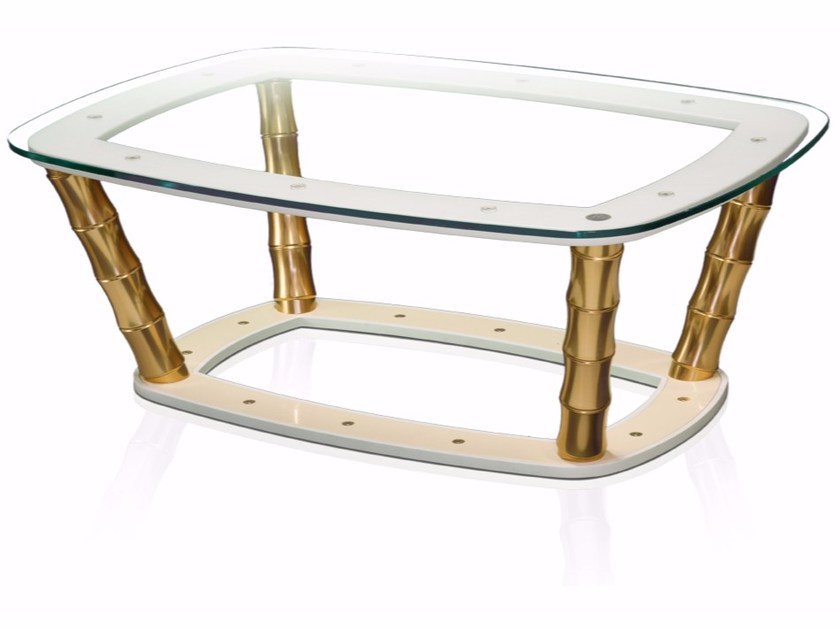 Crystal coffee table with wooden base BAMBÙ - RA DESIGN