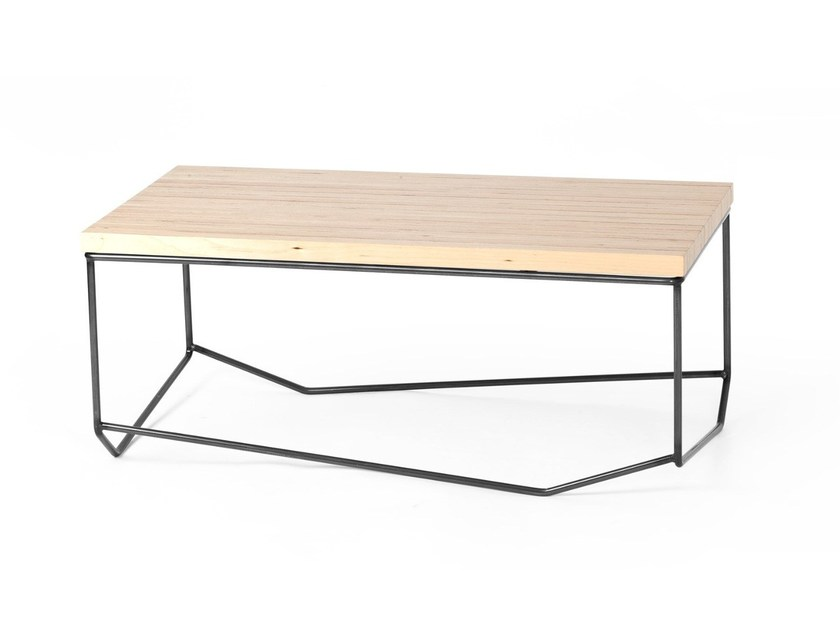 Low rectangular steel and wood coffee table BANCALE by MALHERBE EDITION