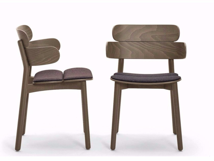 Wooden chair with armrests BANDS | Chair with armrests by Varaschin