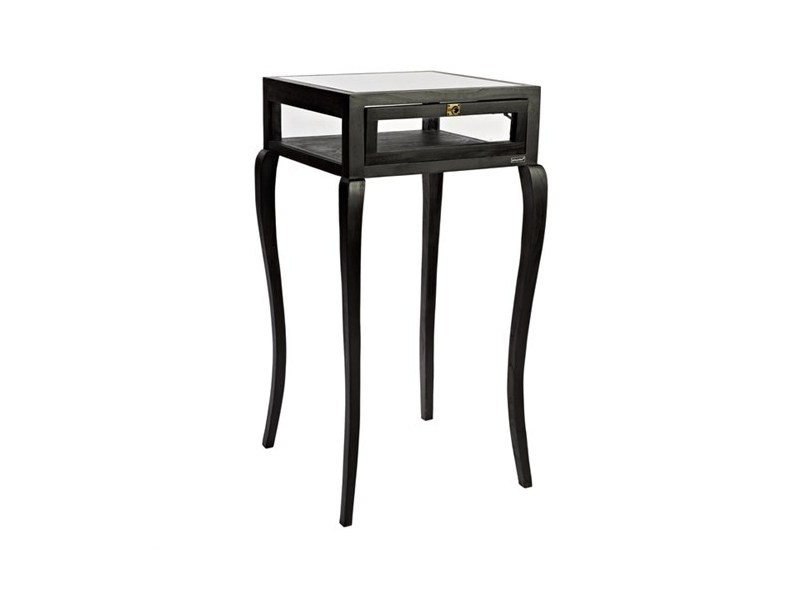 Lacquered wood and glass side table with storage space BAR TABLE VITRINE CURVED FEET | Lacquered coffee table - Pols Potten