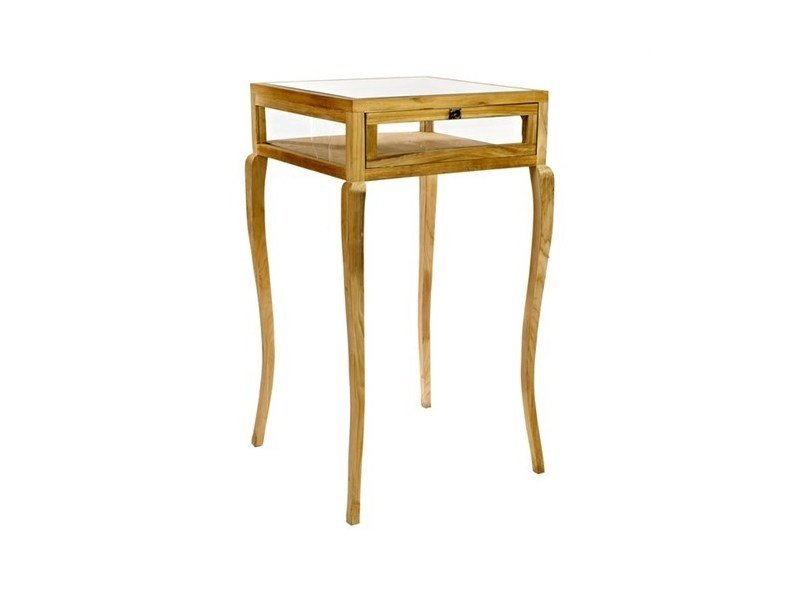 Square wood and glass side table with storage space BAR TABLE VITRINE CURVED FEET | Side table - Pols Potten