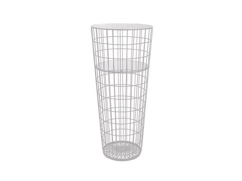 Lacquered round glass and steel high side table WIRE | High side table - Pols Potten