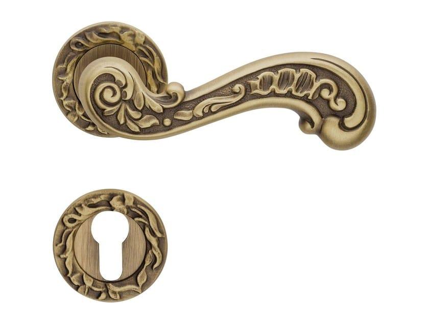 Baroque brass door handle with lock BAROCCO | Door handle with lock - LINEA CALI'