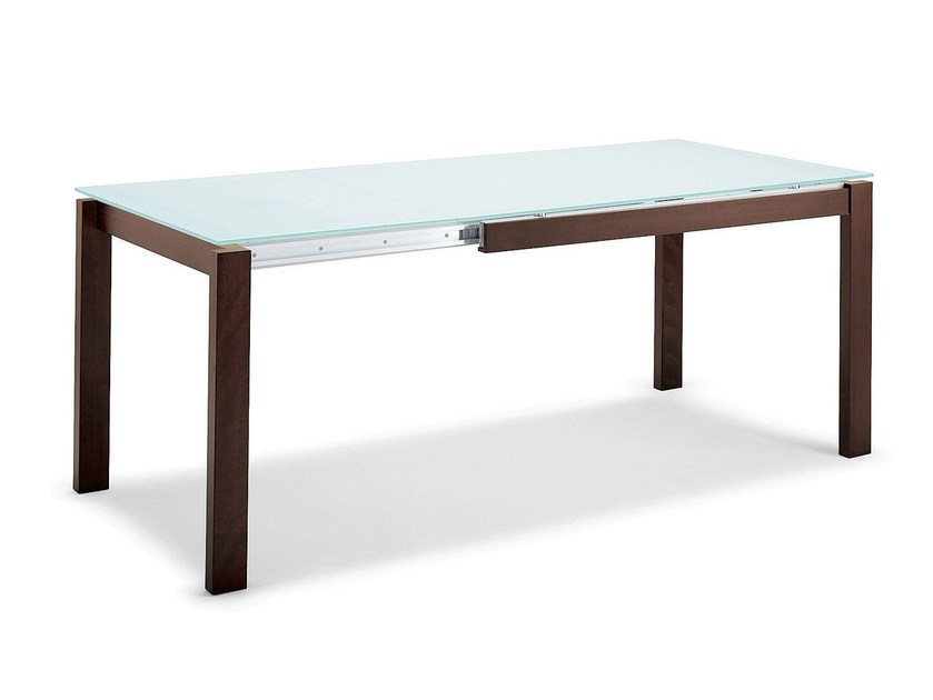 Extending wood and glass table BARON | Rectangular table - Calligaris