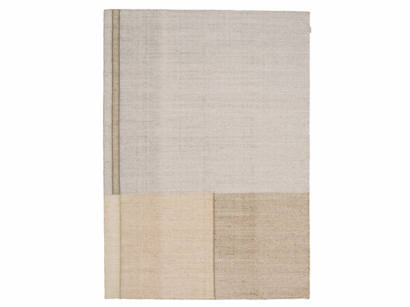 Handmade rectangular wool rug with geometric shapes BARRIO by Warli