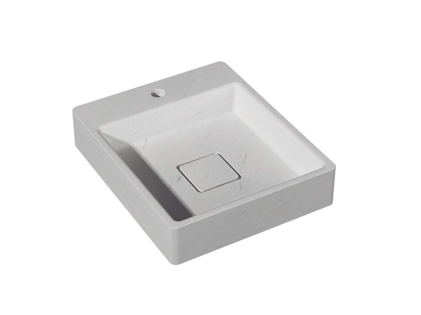 Countertop square natural stone washbasin BASIC H40 by L'antic Colonial