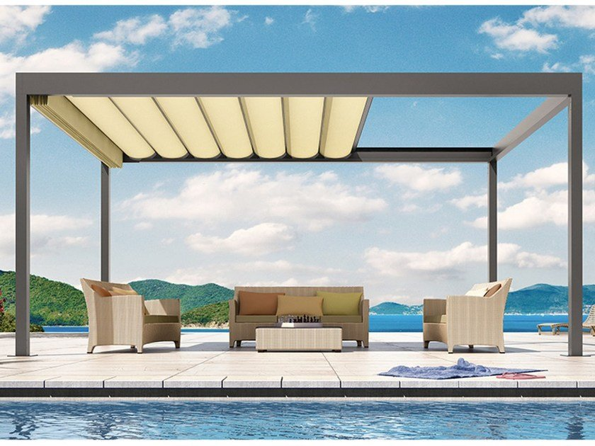 Fabric pergola with sliding cover BAVONA Softtop by STOBAG