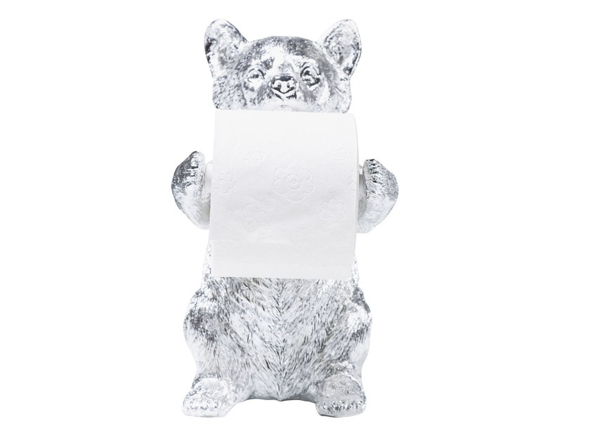 Resin toilet roll holder BEAR CHROME by KARE-DESIGN