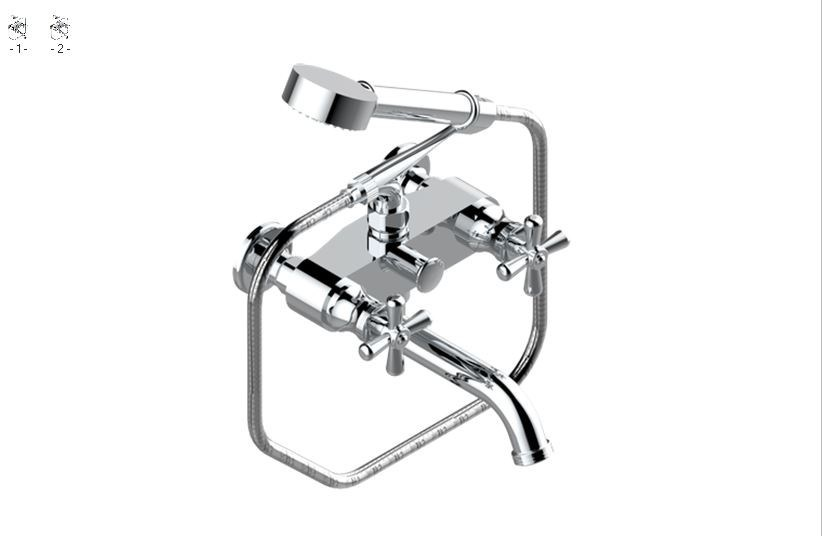 Classic style 2 hole wall-mounted steel bathtub mixer with hand shower BEAUBOURG | Wall-mounted bathtub mixer - INTERCONTACT