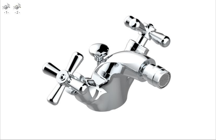 Classic style chrome-plated steel bidet mixer with aerator with polished finishing BEAUBOURG | Bidet mixer - INTERCONTACT