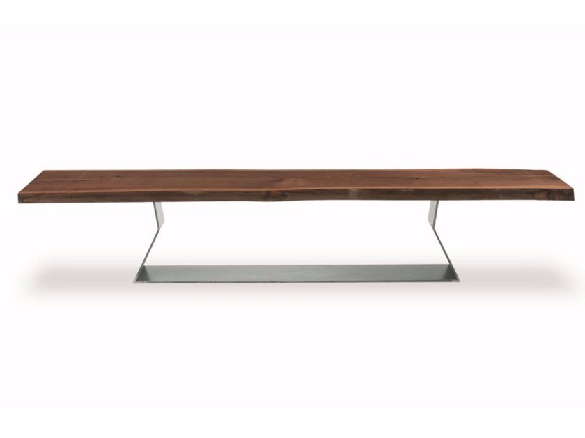 Wooden and iron bench BEDROCK PLANK BENCH by Riva 1920