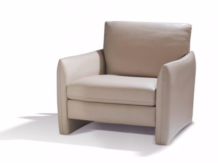 Leather armchair with armrests BELHARRA | Armchair - Canapés Duvivier