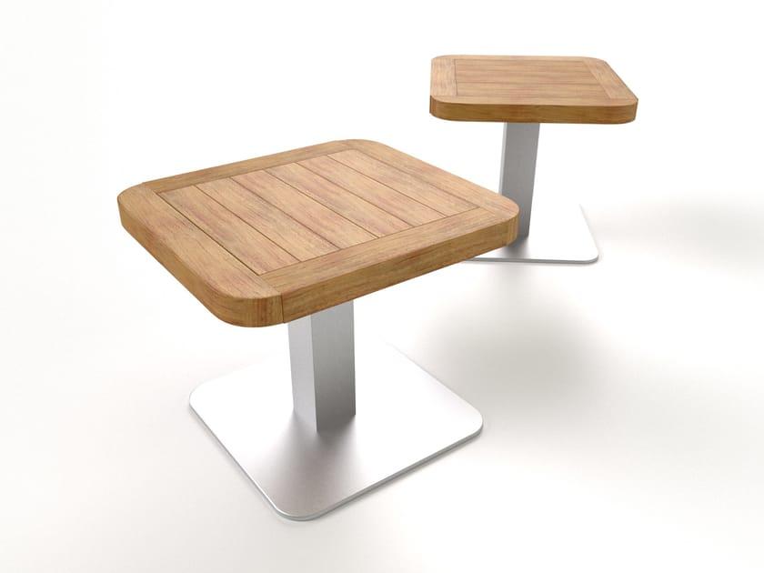 Square aluminium garden side table BELIZE | Teak garden side table - Sérénité Luxury Monaco