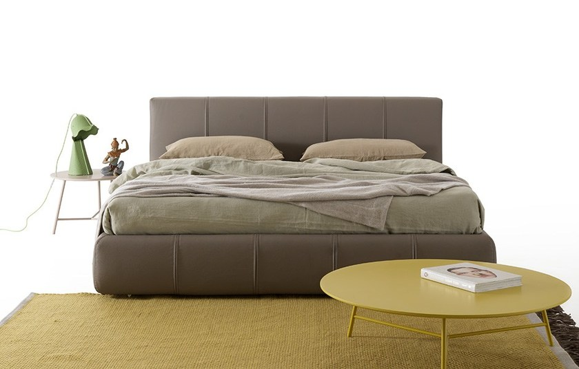Upholstered leather double bed BEND | Leather bed - MY home collection