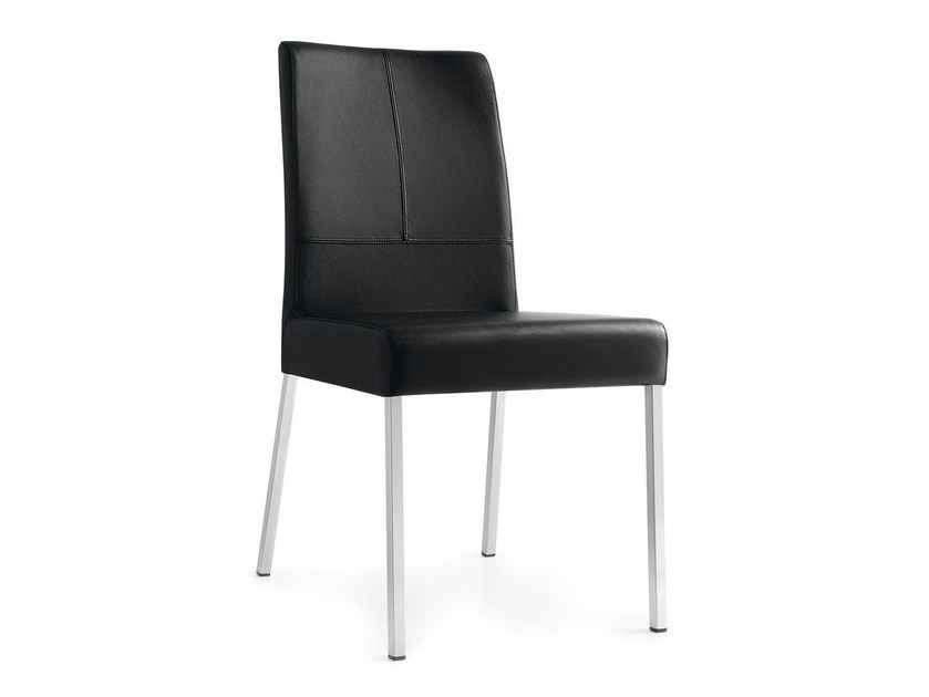 Upholstered leather chair BERLINER | Leather chair - Calligaris