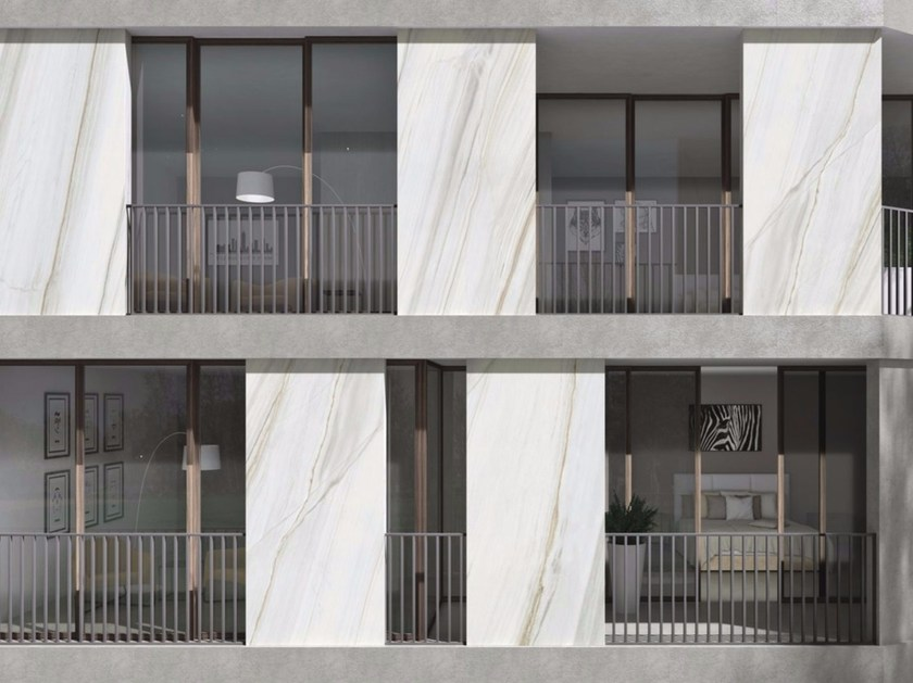 Pannello per facciata in gres porcellanato BIANCO LASA | Pannello per facciata - FMG Fabbrica Marmi e Graniti