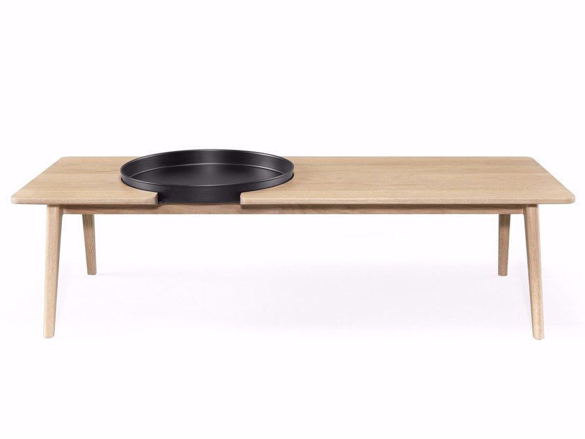 rectangular solid wood coffee table with tray bica by wewood