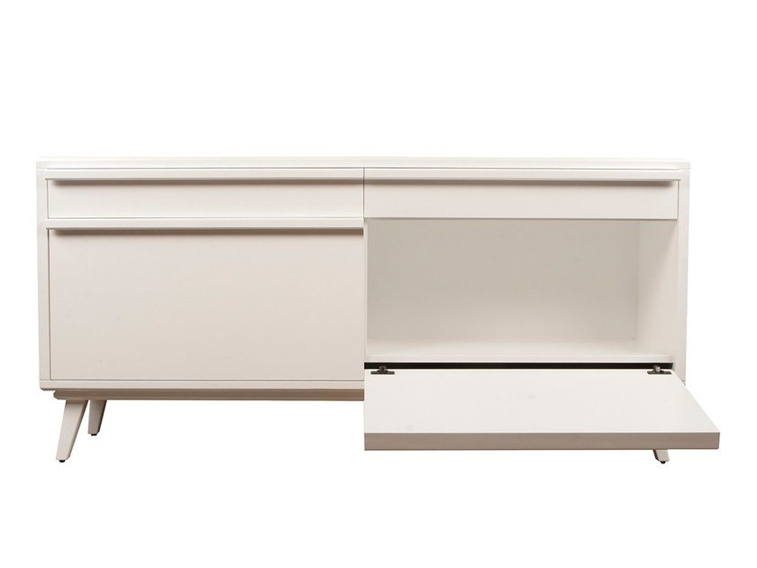 Lacquered MDF sideboard with flap doors BICUDA | Sideboard - Branco sobre Branco