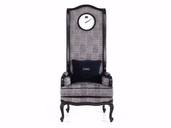 Upholstered high-back fabric armchair with clock BIG BEN - Gianfranco Ferré Home