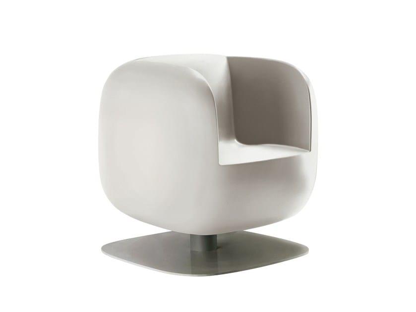 Swivel polyethylene easy chair with armrests BIG JIM - Luxy