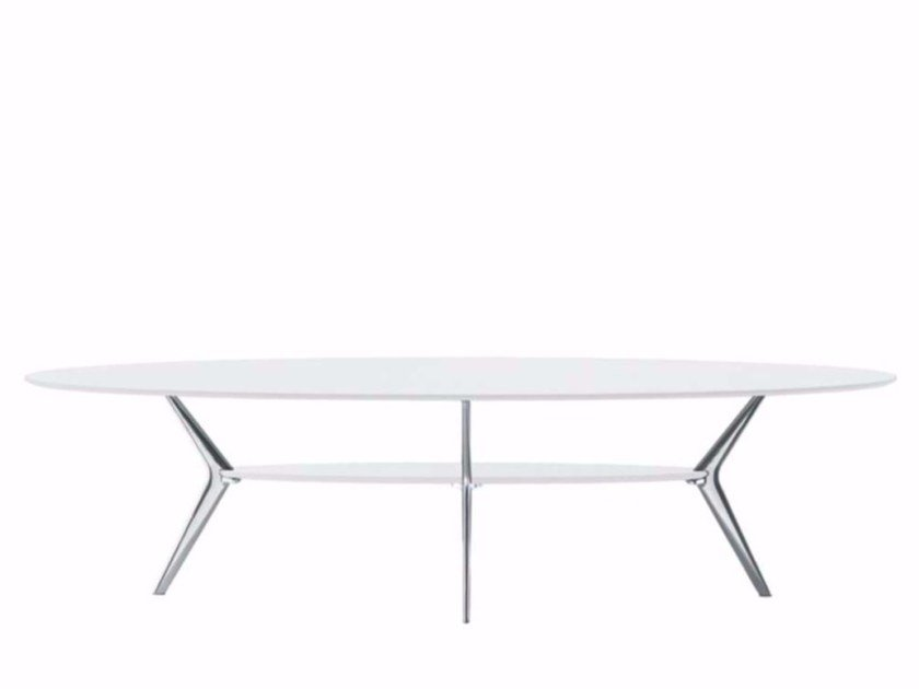 Lacquered oval coffee table BIPLANE 150 - 411 - Alias