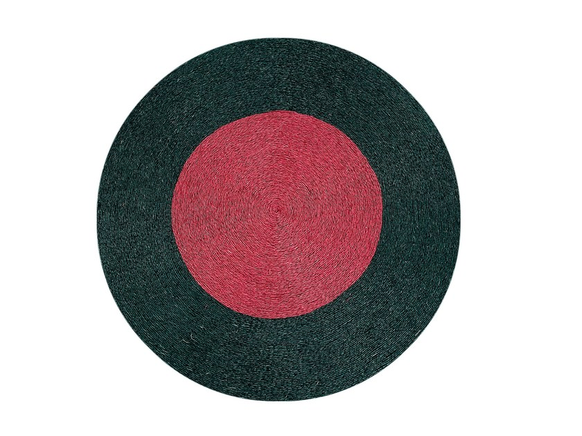 Round natural fibre mat BLACK BORDEAUX | Mat - DANYÉ DECORACIÓN